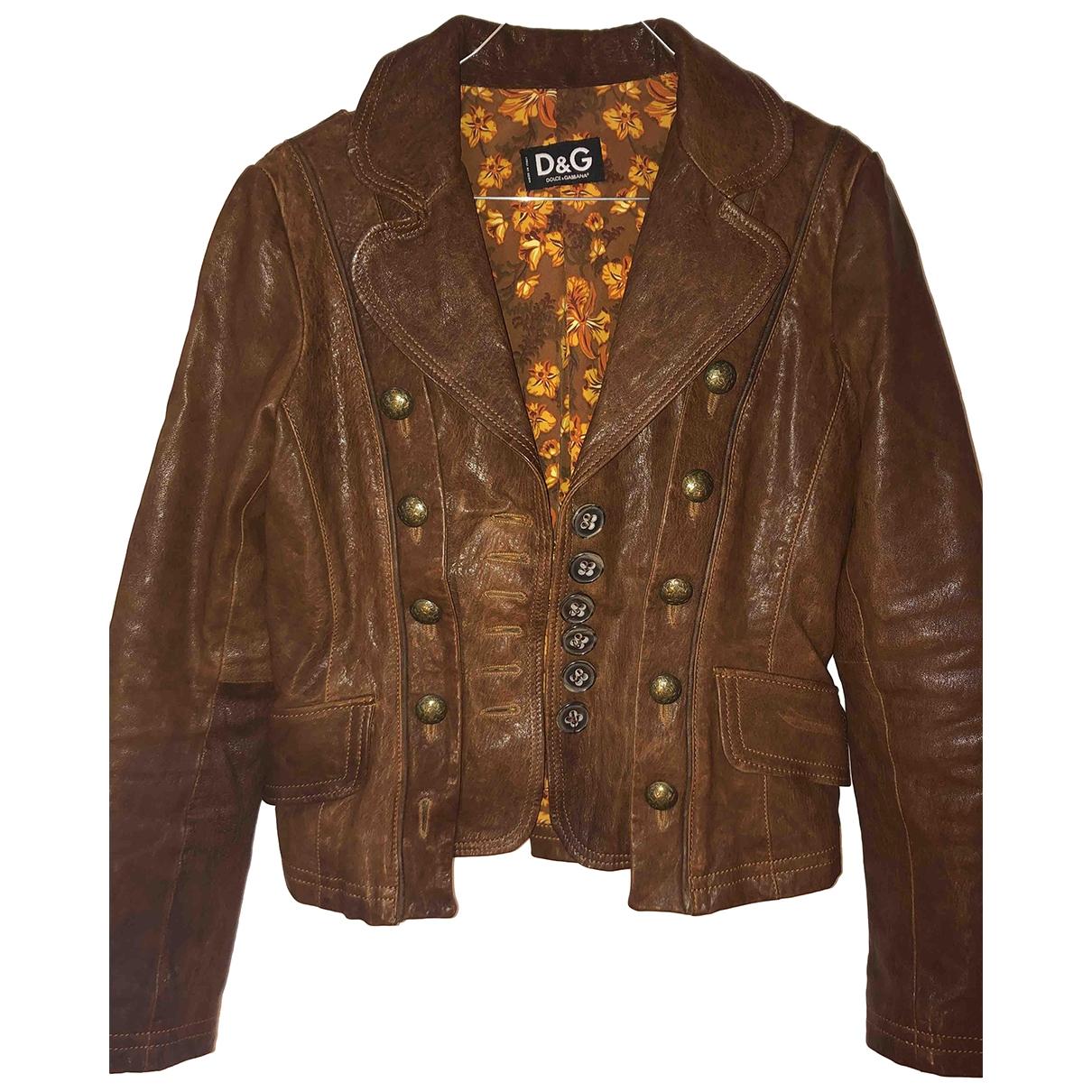 D&g - Veste   pour femme en cuir - marron