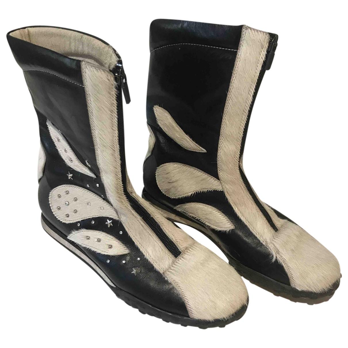 - Boots   pour femme en veau facon poulain - noir
