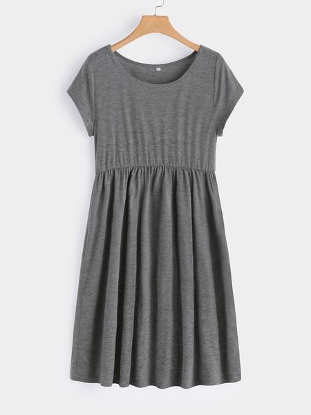 Yoins Grey Plain Round Neck Short Sleeves Midi Swing Dress