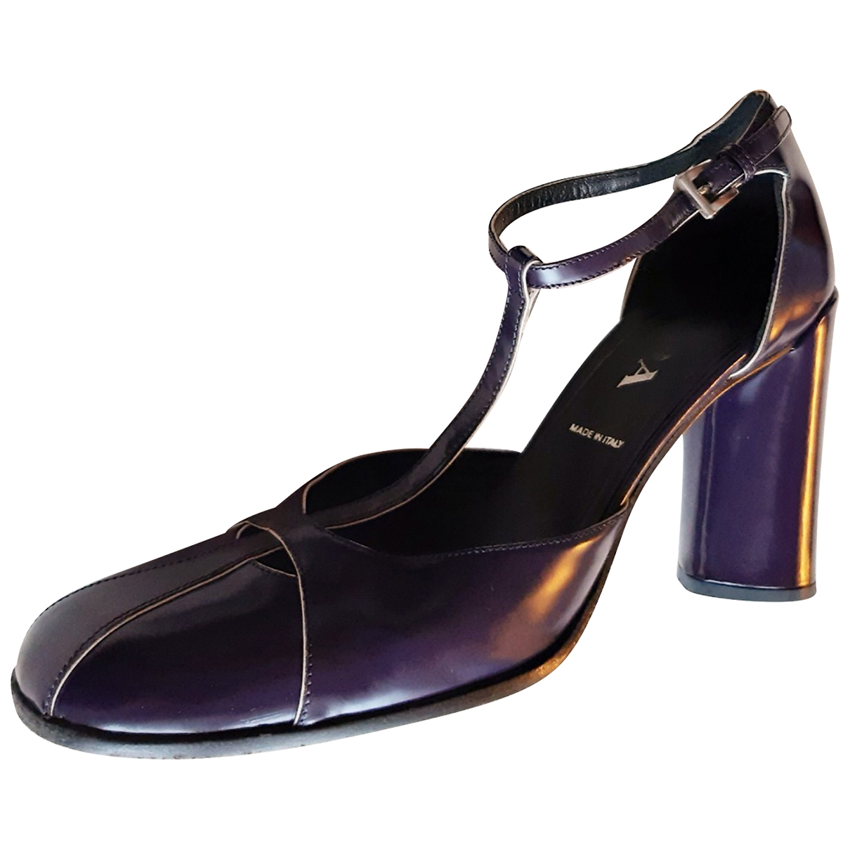 Prada \N Purple Leather Heels for Women 38 EU