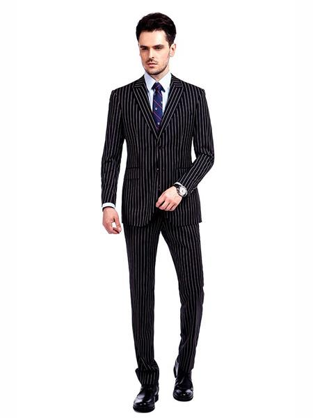 Mens Button Closure Pinstripe Designed Black / White Suit