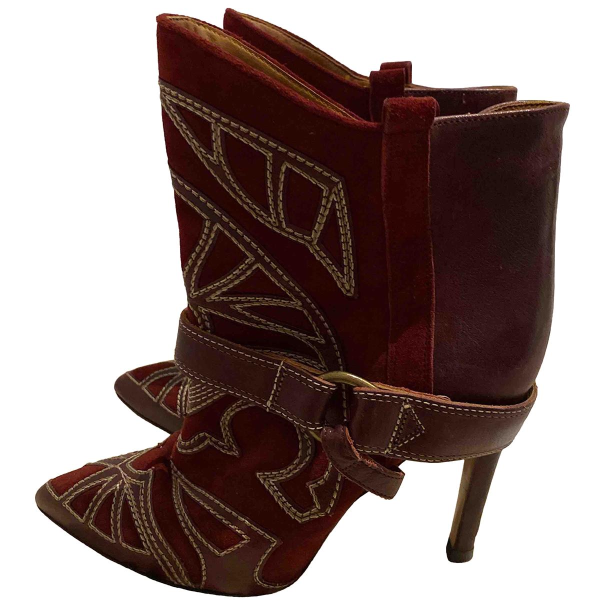 Isabel Marant - Boots Blackson pour femme en suede - bordeaux
