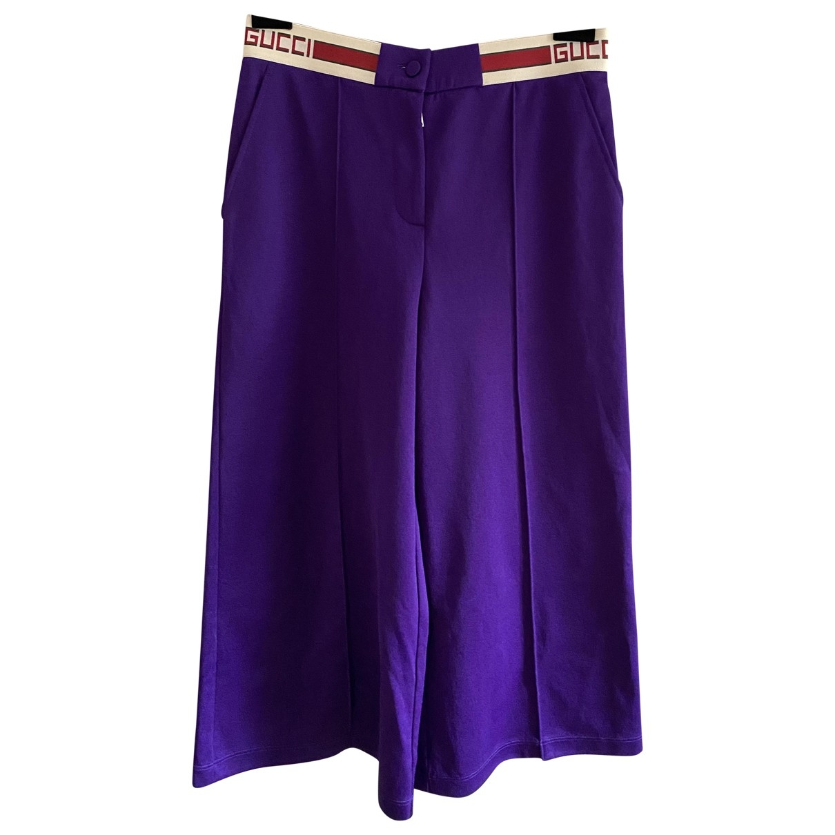 Gucci \N Purple Cotton Trousers for Women 40 IT