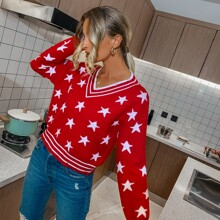 Star And Striped Pattern Drop Shoulder Sweater