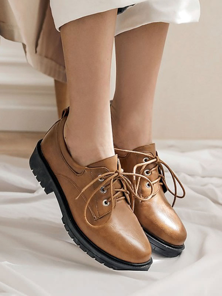 Milanoo Brown Casual Shoes Women Classic Round Toe PU Leather Lace Up Oxfords
