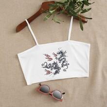 Dragon Print Crop Cami Top