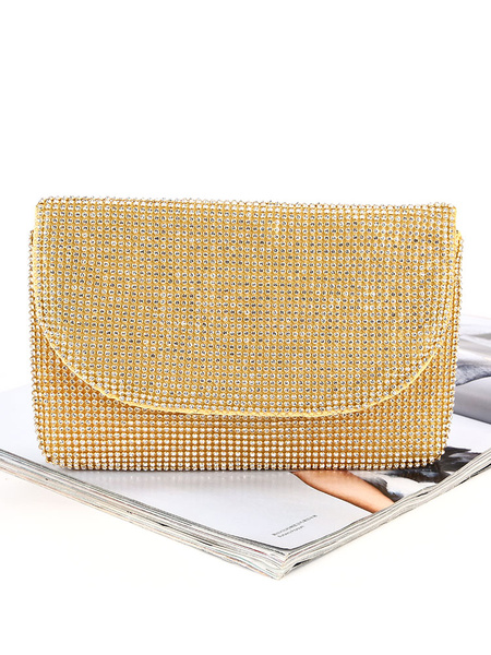 Milanoo Evening Clutch Purse Rhinestone Beaded Wedding Party Handbags