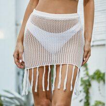 Open Knit Fringe Hem Cover Up Skirt Without Bikini