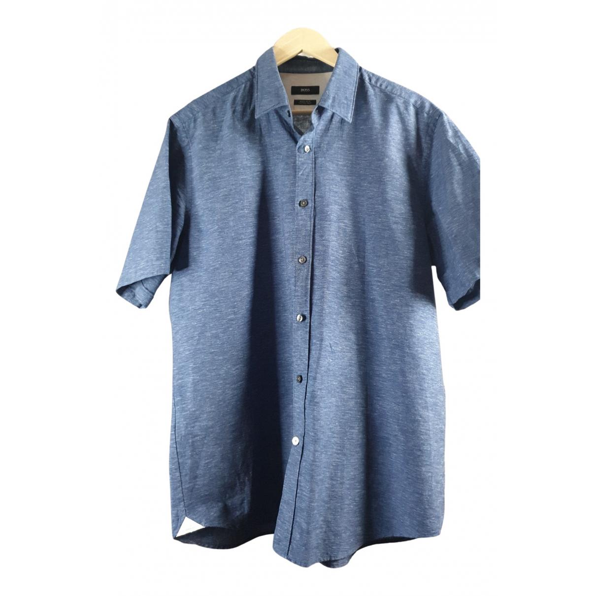 Boss - Chemises   pour homme en lin - bleu