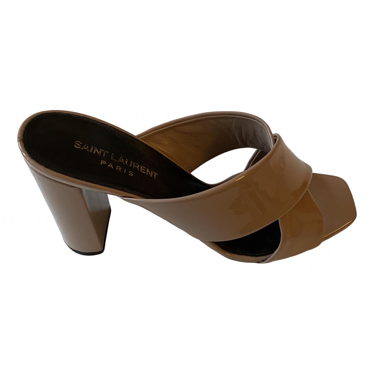 Saint Laurent Loulou Beige Patent leather Sandals for Women 41 EU