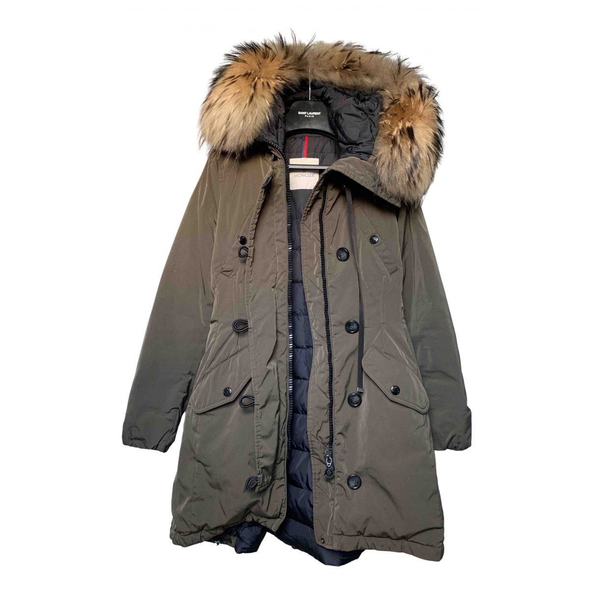 Moncler - Manteau Fur Hood pour femme en racoon - kaki