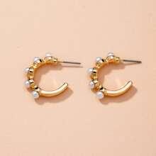 Faux Pearl Decor Cuff Hoop Earrings