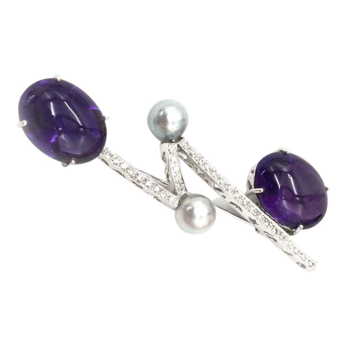 - Broche Amethyste pour femme en or blanc - violet