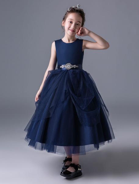 Milanoo Princess Flower Girl Dresses Dark Navy Pageant Dress Little Girls Sleeveless Beaded Sash Ankle Length Kids Party Dress