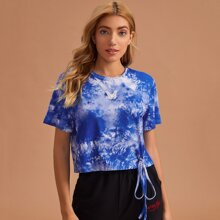 Tie Dye Butterfly Patched Tie Front Lounge Tee