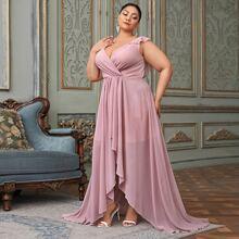 Kleid mit Chiffon Raffungsaum und asymmetrischem Saum