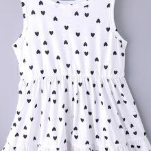 Toddler Girls Heart Print Ruffle Hem Dress