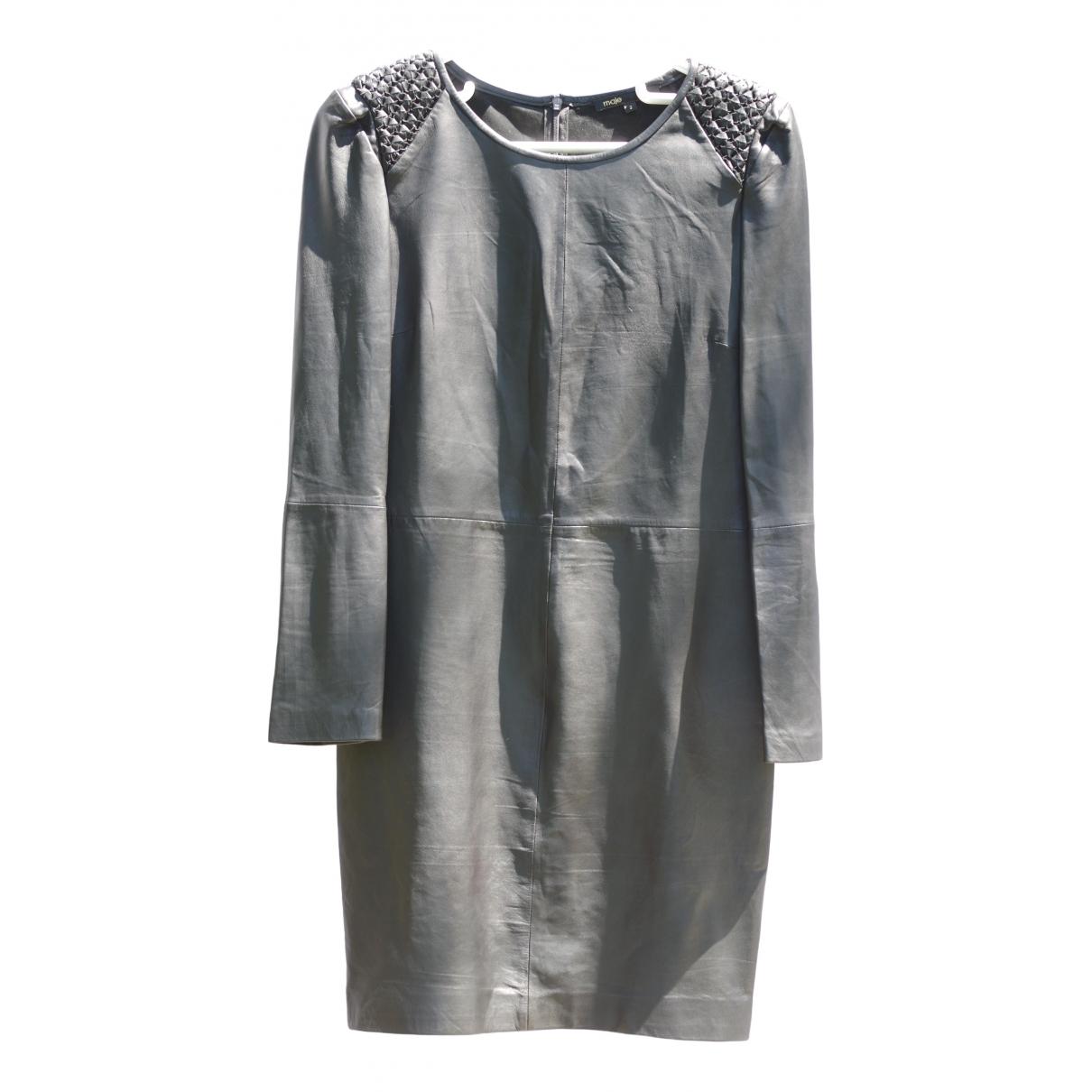 Maje - Robe   pour femme en cuir - noir