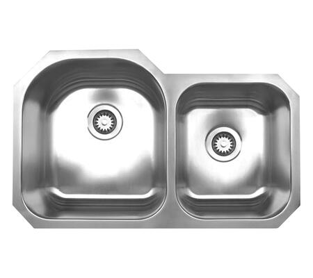 WHNDBU3220 Noah's Collection Brushed Stainless Steel double bowl undermount