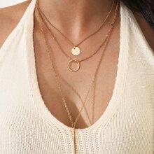 3 Stuecke Halskette mit rundem Anhaenger