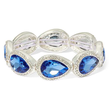 Monet Blue Stone and Silver-Tone Stretch Bracelet, One Size , Blue