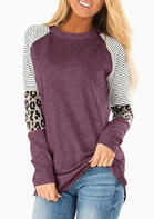 Striped Splicing Leopard T-Shirt Tee - Cameo Brown