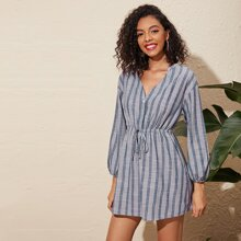 Button Front Notched Neck Striped Dress