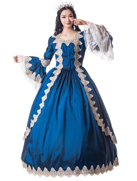 Milanoo Victorian Dress Costume Women's Royal Blue Trumpet Long Sleeves Square Neckline Matte Satin Dress Victorian era Style Vintage Clothing Hallowe