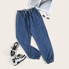 Plus Tie Waist Tapered Jeans
