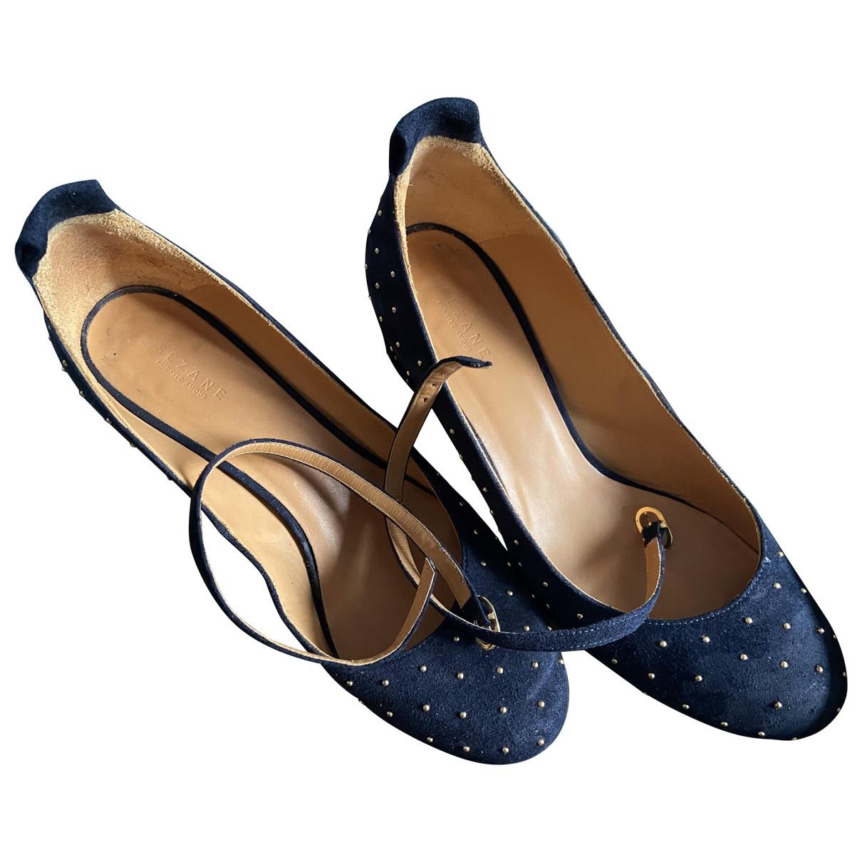 Sezane - Escarpins   pour femme en suede - bleu