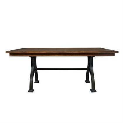 Arlington House Collection 411-T4274 Trestle Table with French Industrial Design  Fixed Top and French Industrial Design in Cobblestone Brown