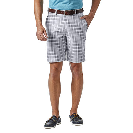 Haggar Cool 18 Pro Pattern Classic Fit Flat Front Short, 44 , Silver