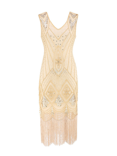 Milanoo 1920s Fashion Outfits Flapper Dress Great Gatsby Vintage With Tassels Sleeveless Blond Charleston Dress 20s Party Dress Halloween