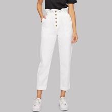 Jeans mit Papiertasche Taille, Tasche und gerolltem Saum