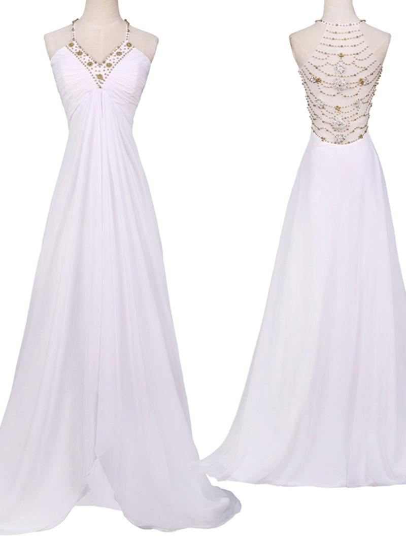 Ericdress V Neck Pleats Beading Prom Dress