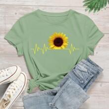 T-Shirt mit Sonnenblumen Muster und kurzen Ärmeln