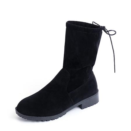 Yoins Black Back Tie Suede Mid-calf Boots