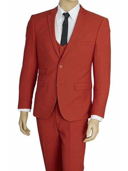 Mens Brick Red 3 Piece Stretch Fabric Extra Slim Fit Vested Suit