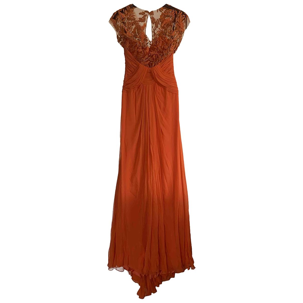 Monique Lhuillier \N Orange Silk dress for Women 6 US