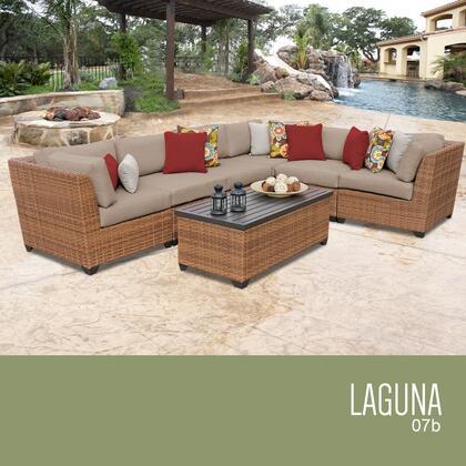 LAGUNA-07b-WHEAT Laguna 7 Piece Outdoor Wicker Patio Furniture Set 07b with 2 Covers: Wheat and