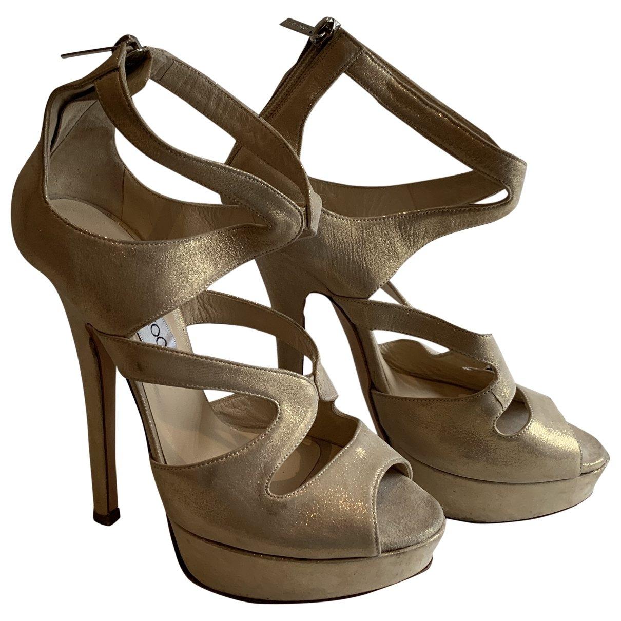 Jimmy Choo \N Gold Cloth Sandals for Women 37 EU