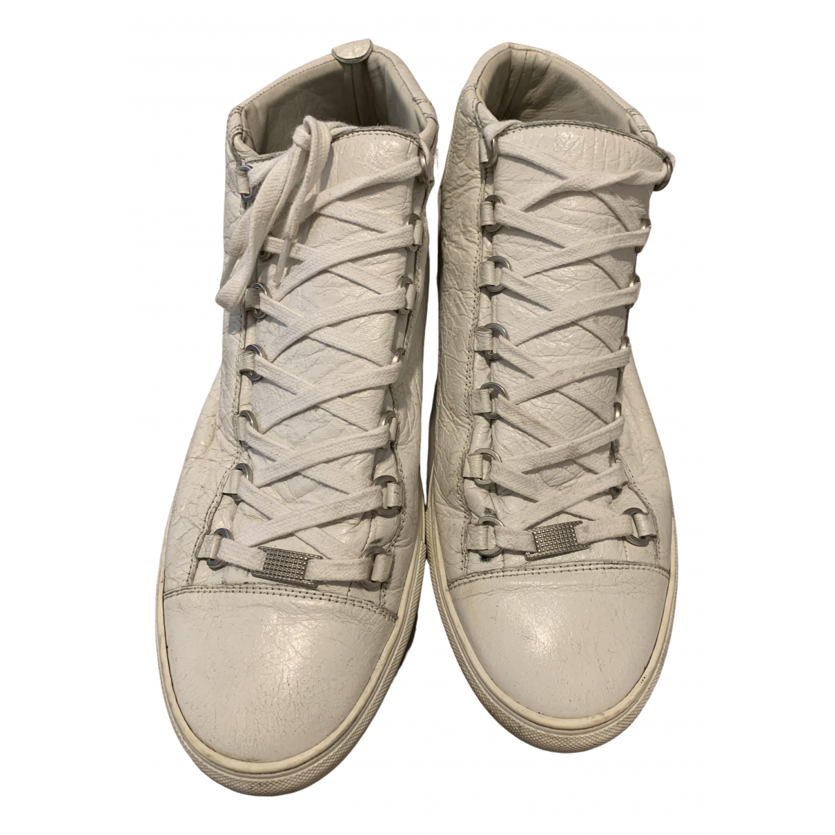 Balenciaga Arena Sneakers in  Weiss Leder