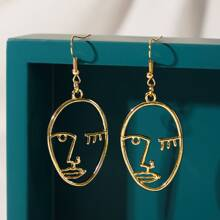 1pair Hollow Out Abstract Face Design Drop Earrings
