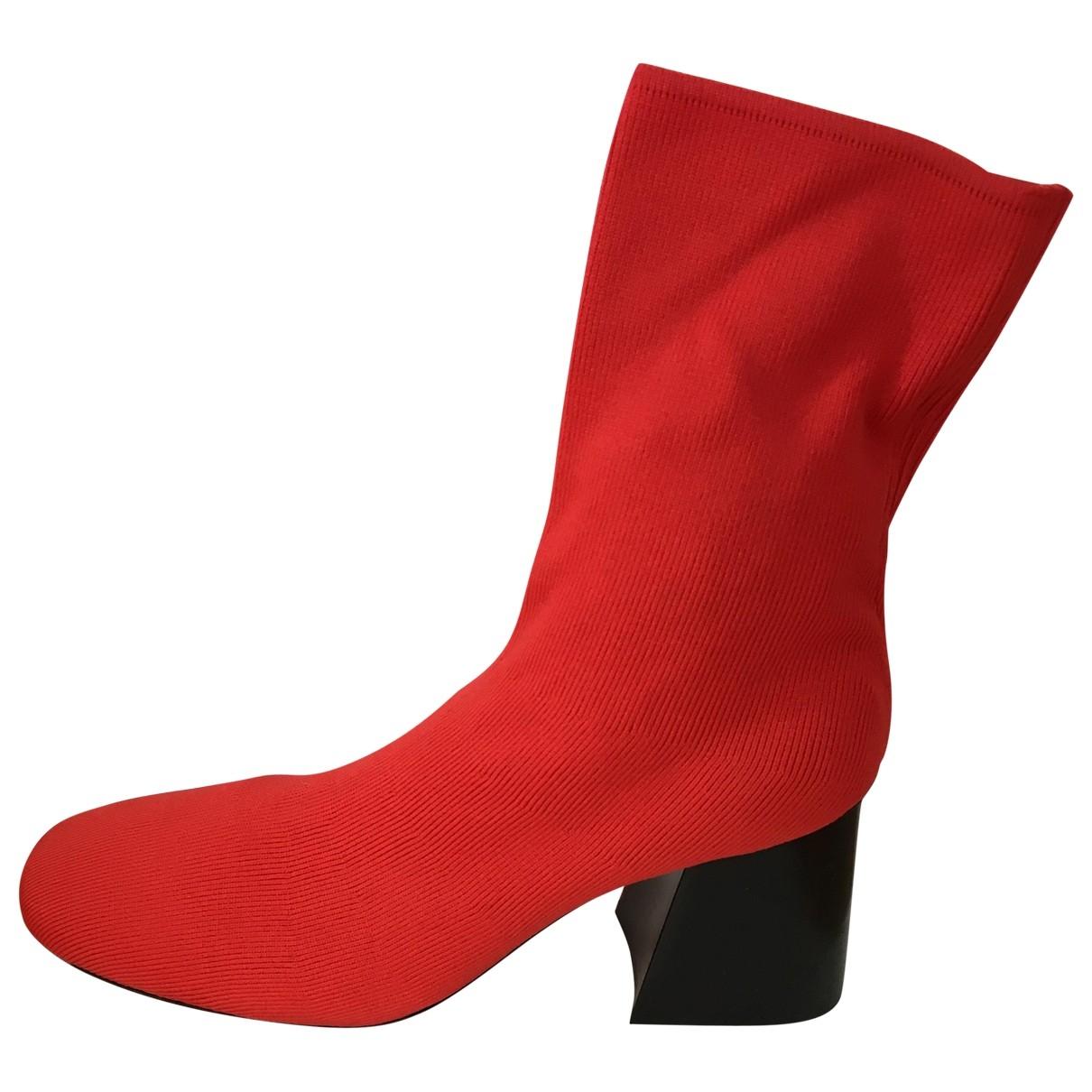 Celine - Boots   pour femme en toile - rouge