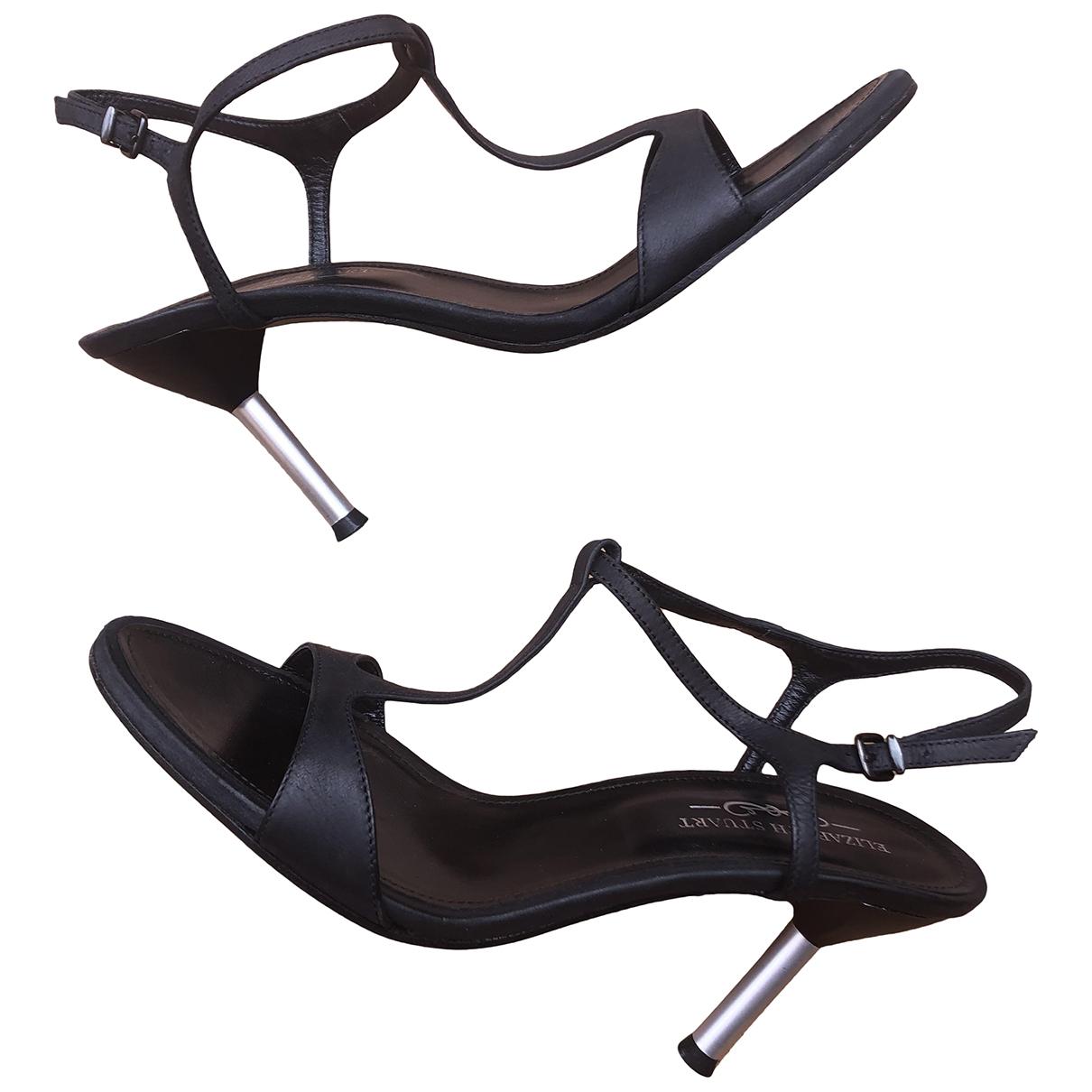 Elisabeth Stuart \N Black Leather Sandals for Women 39 EU