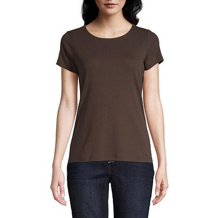 St. John's Bay-Womens Crew Neck Short Sleeve T-Shirt, Medium , Brown