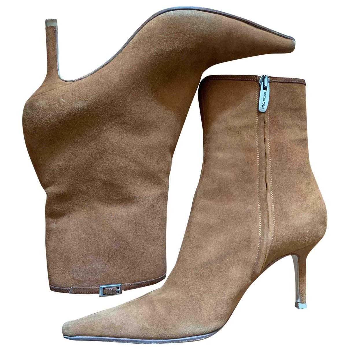 Sergio Rossi - Boots   pour femme en suede - camel