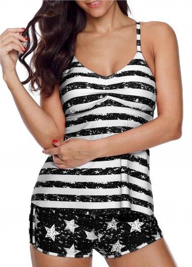 4Th Of July Women'S Black Star And Stripe Printed Two Piece Tankini Swimsuit Patriotic American Flag Padded Wire Free Bathing Suit By Rosewe - M