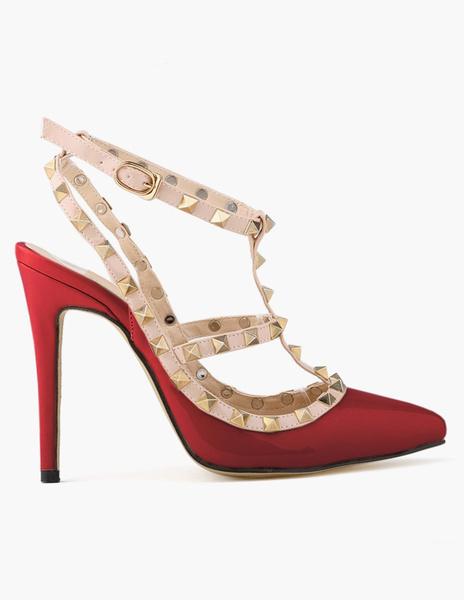 Milanoo Zapatos de mujer de tacones rojos con punta estrecha tipo T remaches bombas de tobillo correa