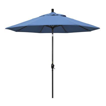 GSPT908302-F26 9' Pacific Trail Series Patio Umbrella With Stone Black Aluminum Pole Aluminum Ribs Push Button Tilt Crank Lift With Olefin Frost Blue